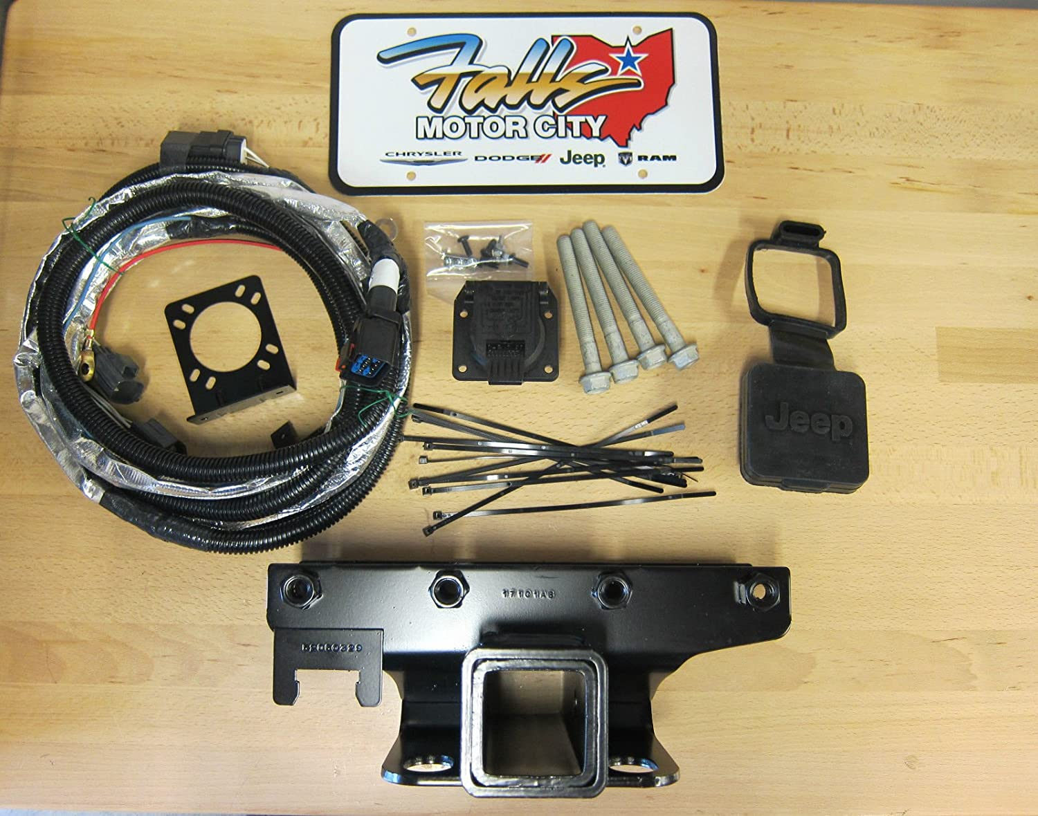 Mopar Jeep Wrangler Jk Trailer Tow Hitch Receiver 7 Way Oem Dodge Ram Wiring Harness Kit Cover Automotive