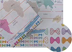 eVincE 10 White Gift Wrapping Paper | World Map Globe 7 Continents Color Assorted Bows Birthday Christmas Hanukkah New Year Gifts Wrapper for boy Girl | Large Recyclable Gifting Papers 50 x 70 cms