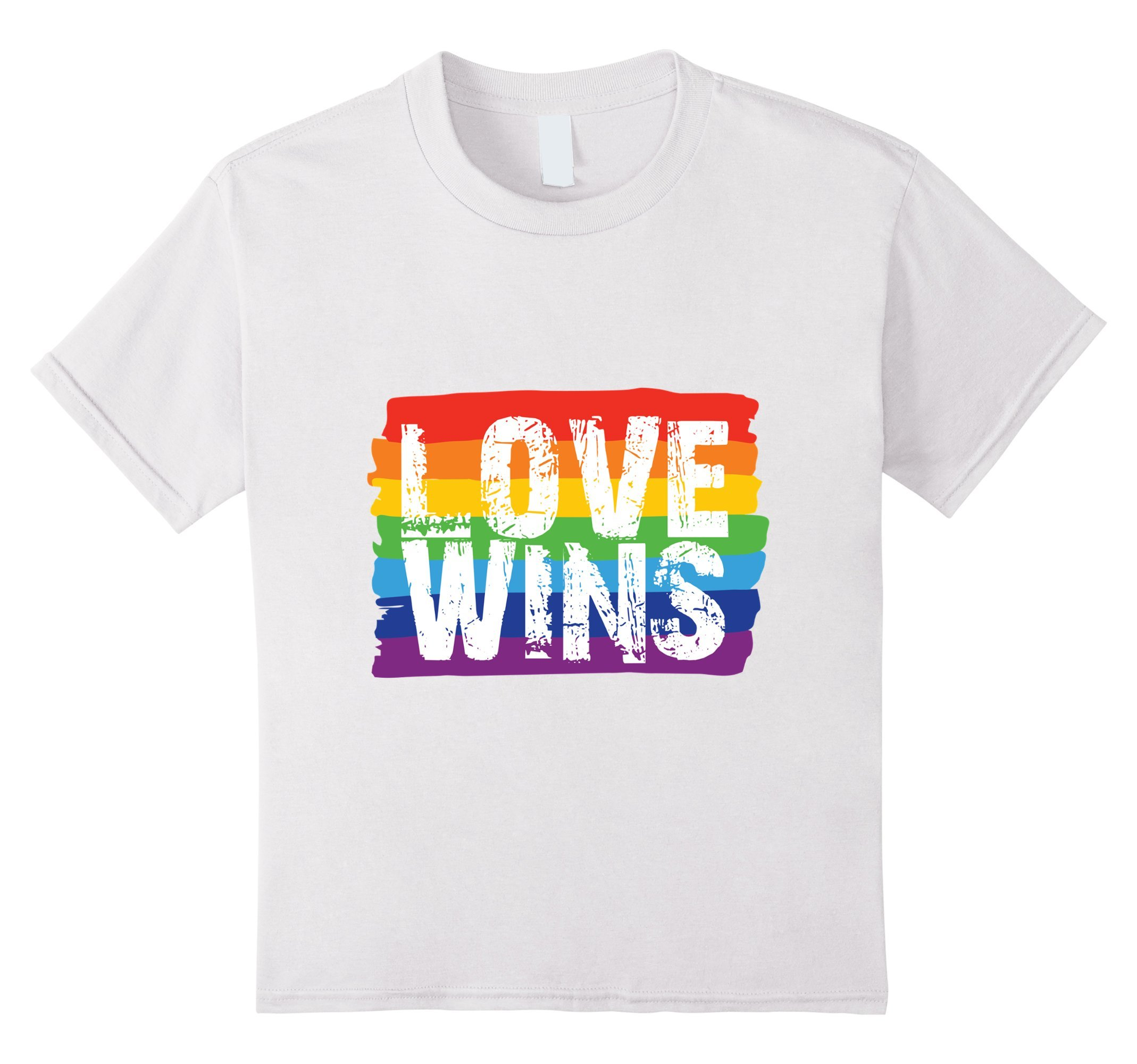 Kids Love Wins T-Shirt- LGBT Shirt, Lesbian Pride, Rainbow Pride 6 White