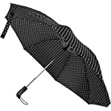 Compact Reverse Folding Umbrella, Reverse Umbrella for Travel, Inverted Umbrella by StreeboWorks - Reversible, Inside Out, Auto Open Close Umbrella (Charcoal Gray/White Polka Dot)