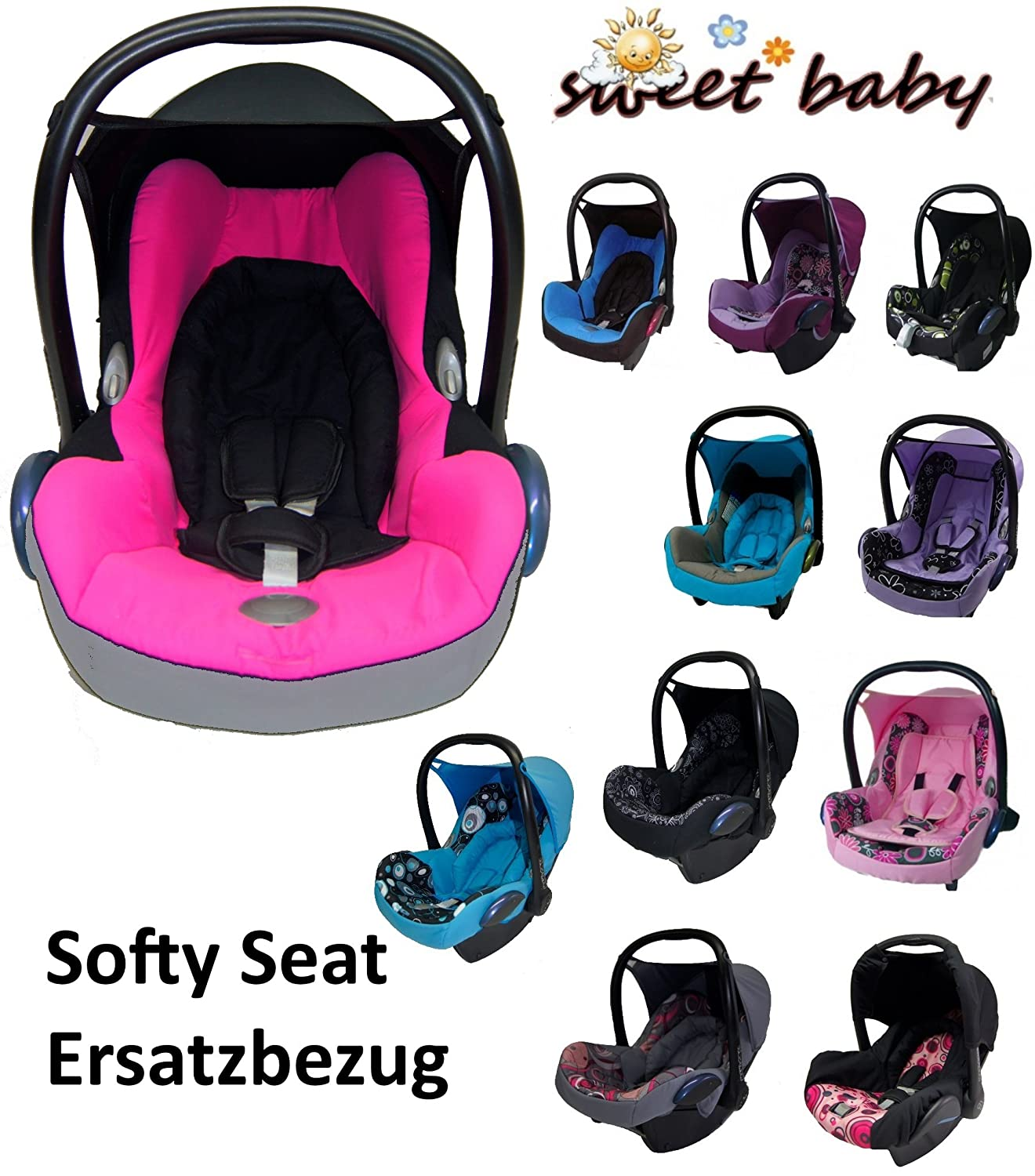 Grey//Pink * Softy Protect Cabriofix Cosy Soft and Thick Padded Replacement Cover for Maxi Cosi Cabriofix CAR SEAT Sweet Baby