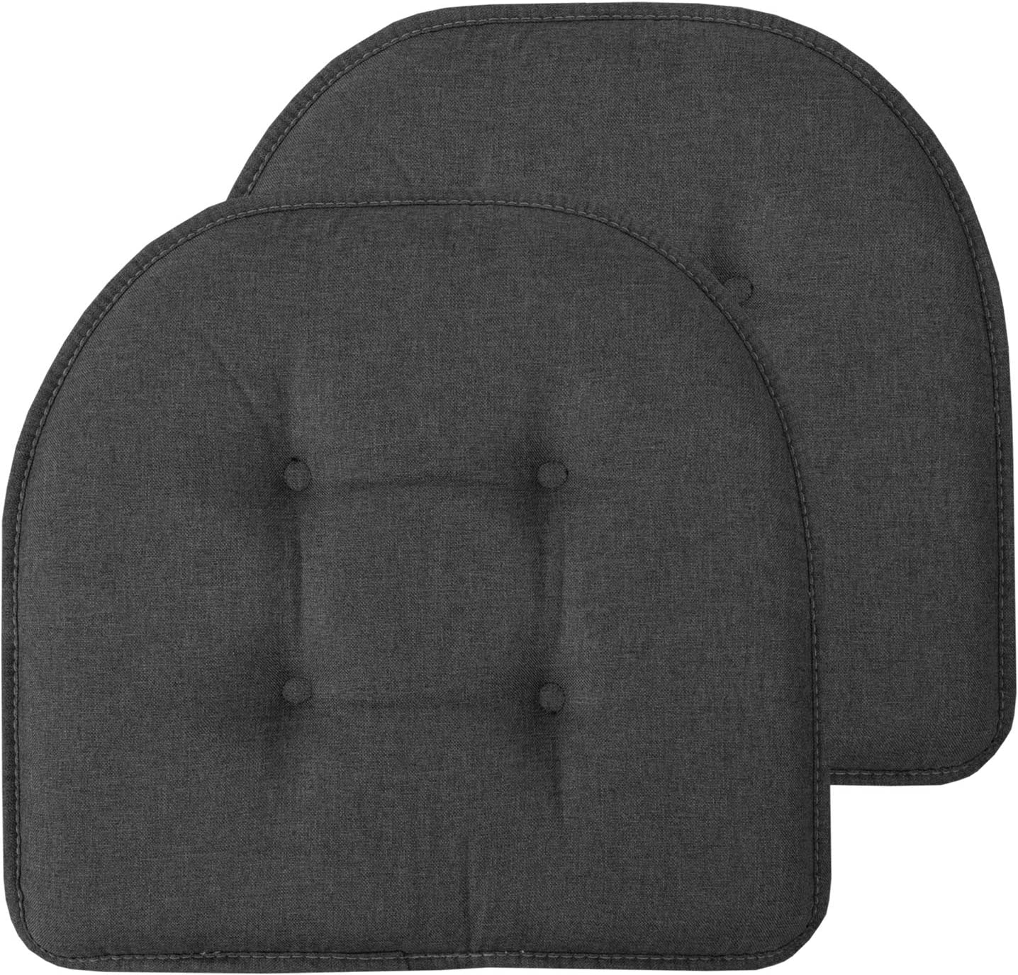 Grey Sweet Home Collection Chair Cushion Memory Foam Pads Tufted Slip Non Skid Rubber Back U-Shaped 17 x 16 Seat Cover 4 Pack