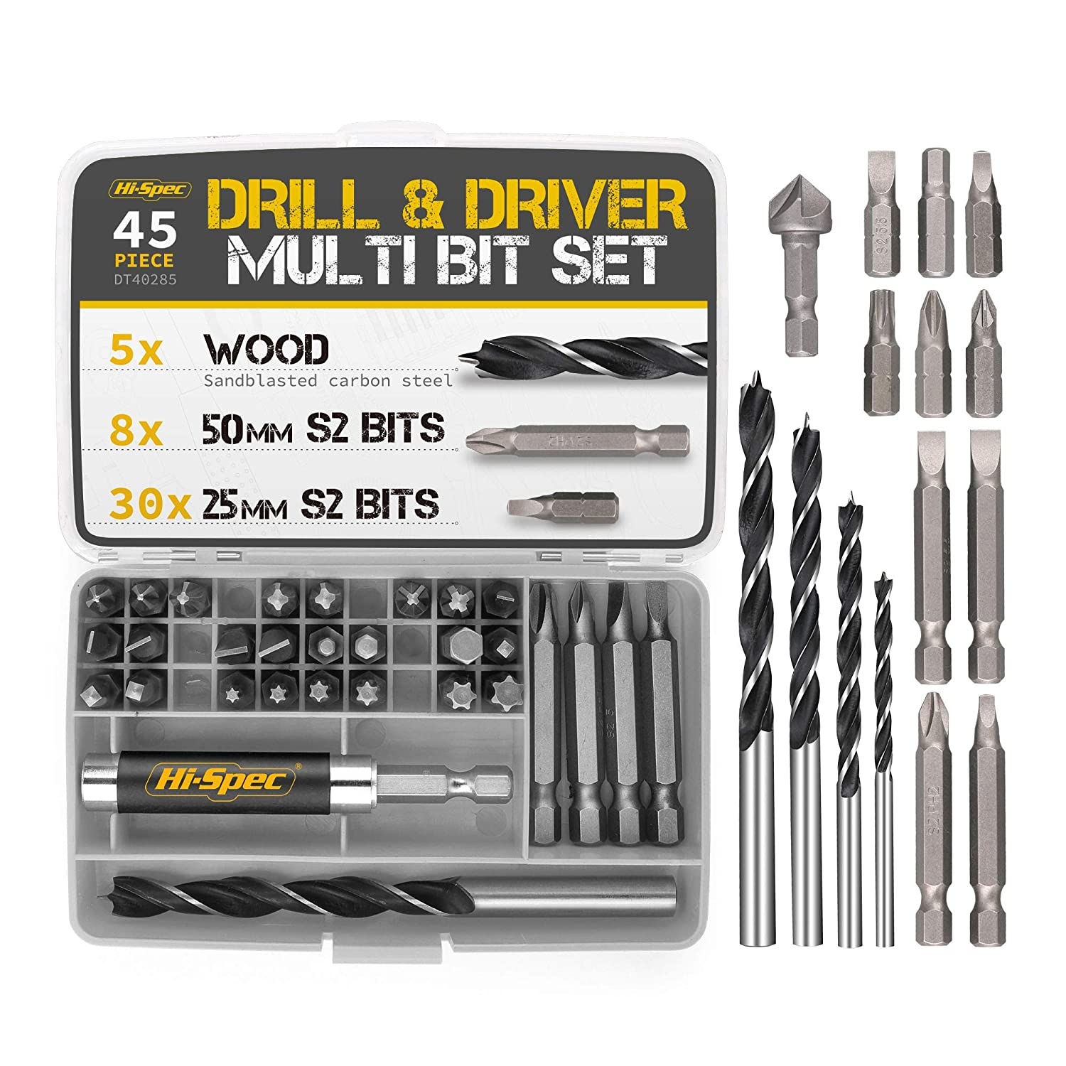 "Hi-Spec 1/4"" Hex Shank Screw Driver Bits & Drills Set. S2 Steel Bits & Drill Driver Power Tool Accessories for DIY Repairs, Installing Fixtures & Fittings, Screwing & Fastening"