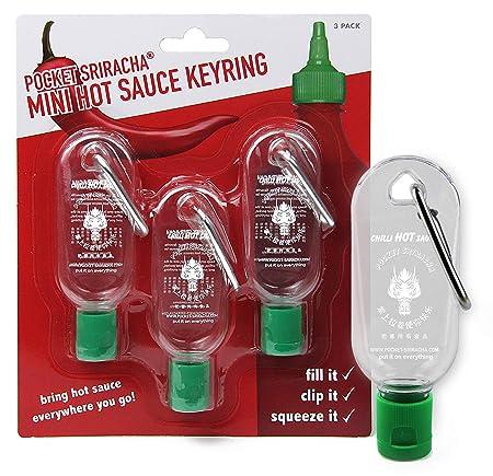 Mini Botella tamaño llavero para salsa picante Sriracha - Botellita de bolsillo para salsa Sriracha - Lleva contigo salsa picante a donde sea que ...