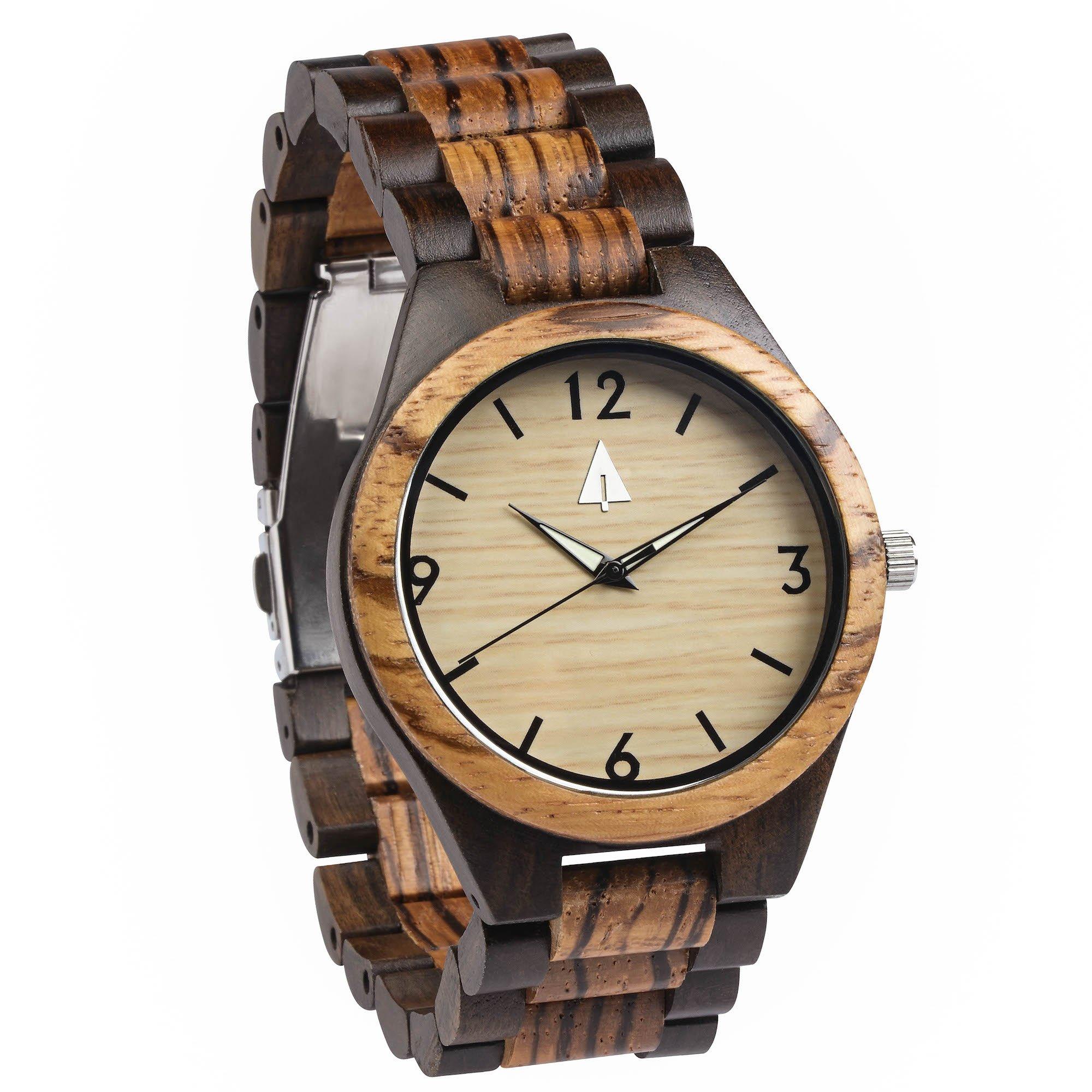 Treehut Zebrawood and Ebony Wooden Men's Watch – Tri-Fold Clasp – Stainless S... by treehut