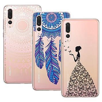 Yokata Funda para Huawei P20 Pro, [3 Packs] Carcasa Transparente Ultra Suave Silicona TPU Case con Dibujo Anti-Arañazos Caso Cover - Mandala + ...