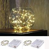 2 X 2m catena di luci led filo Micro catena di luci a batteria e 2 programma per Party, giardino, Natale, Halloween, matrimonio, illuminazione decorativa xinban bianco caldo