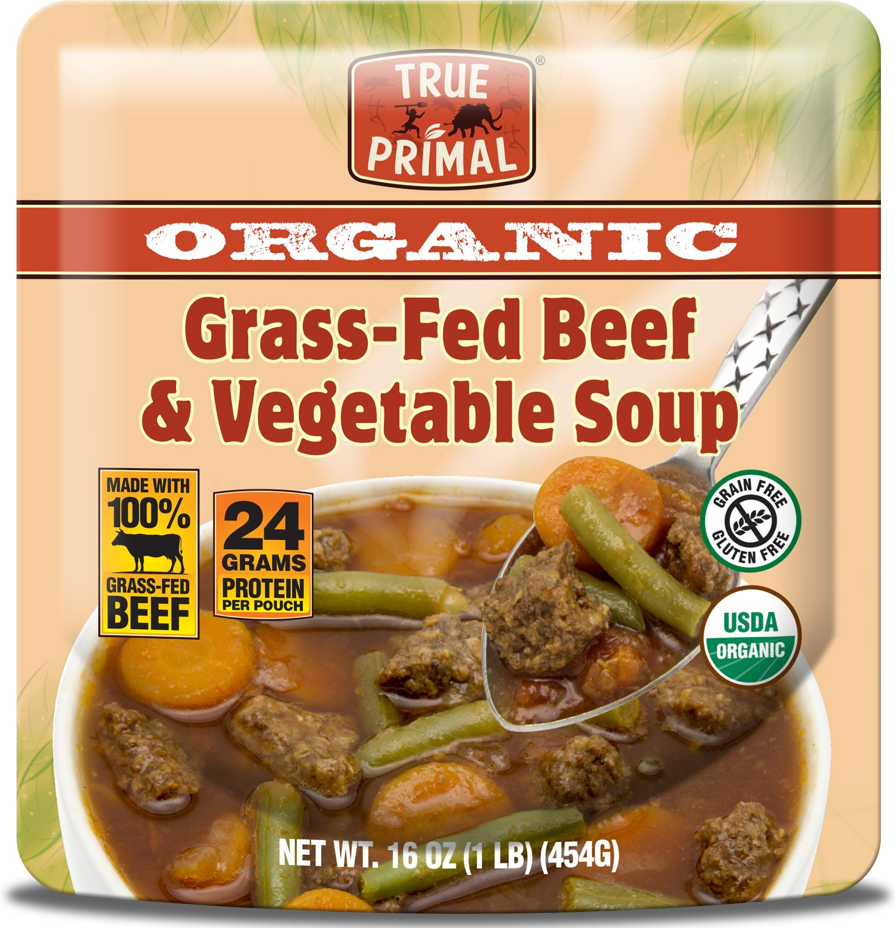 True Primal Organic Grass-Fed Beef & Vegetable Soup (Paleo, Gluten-free, Grain-free, Microwavable) 10-pack