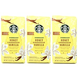 Starbucks Limited Edition Ground Coffee Honey and Madagascar Vanilla - Pack of 3 Bags - 11 oz Per Bag - 33 oz Total - Bulk Limited Edition Ground Coffee