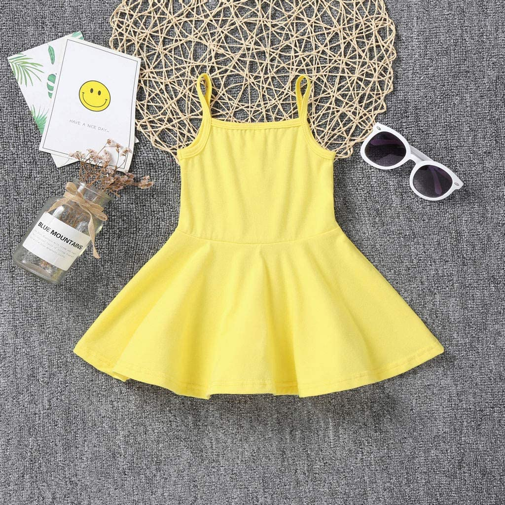 Lurryly Baby Girl Dress Summer Toddler Sleeveless Solid Print Dress Vest Dresses Clothes