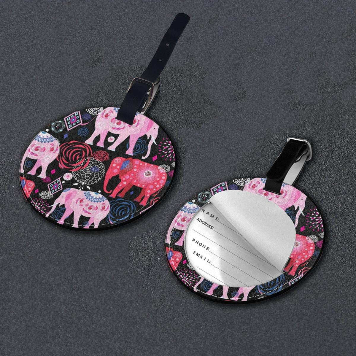 Round Luggage Tags Beautiful Butterfly PU Leather Suitcase Labels Bag