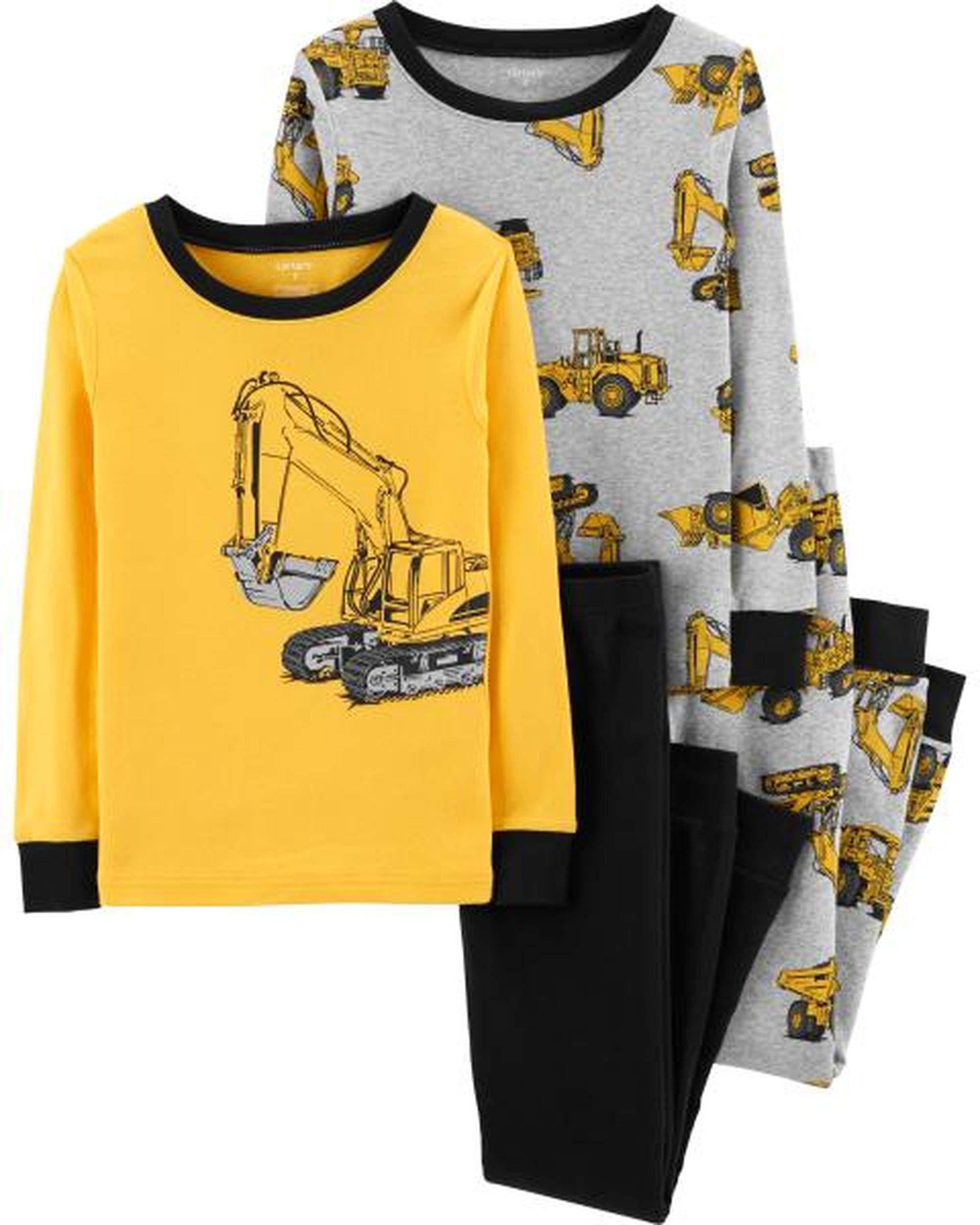 Carter's Boys' 4 Pc Cotton Pajamas Set (8, Allover Construction Print)
