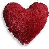 Couleur Montagne Marmotte Coussin Forme Cœur Imitation Fourrure en Polyester/Fibre Rouge 40 x 40 cm