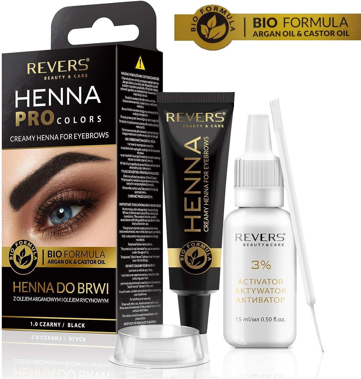 Henna ProColors Henna para cejas con cremosa fórmula bio con aceite de argán y aceite de ricino (1.0 negro): Amazon.es: Belleza