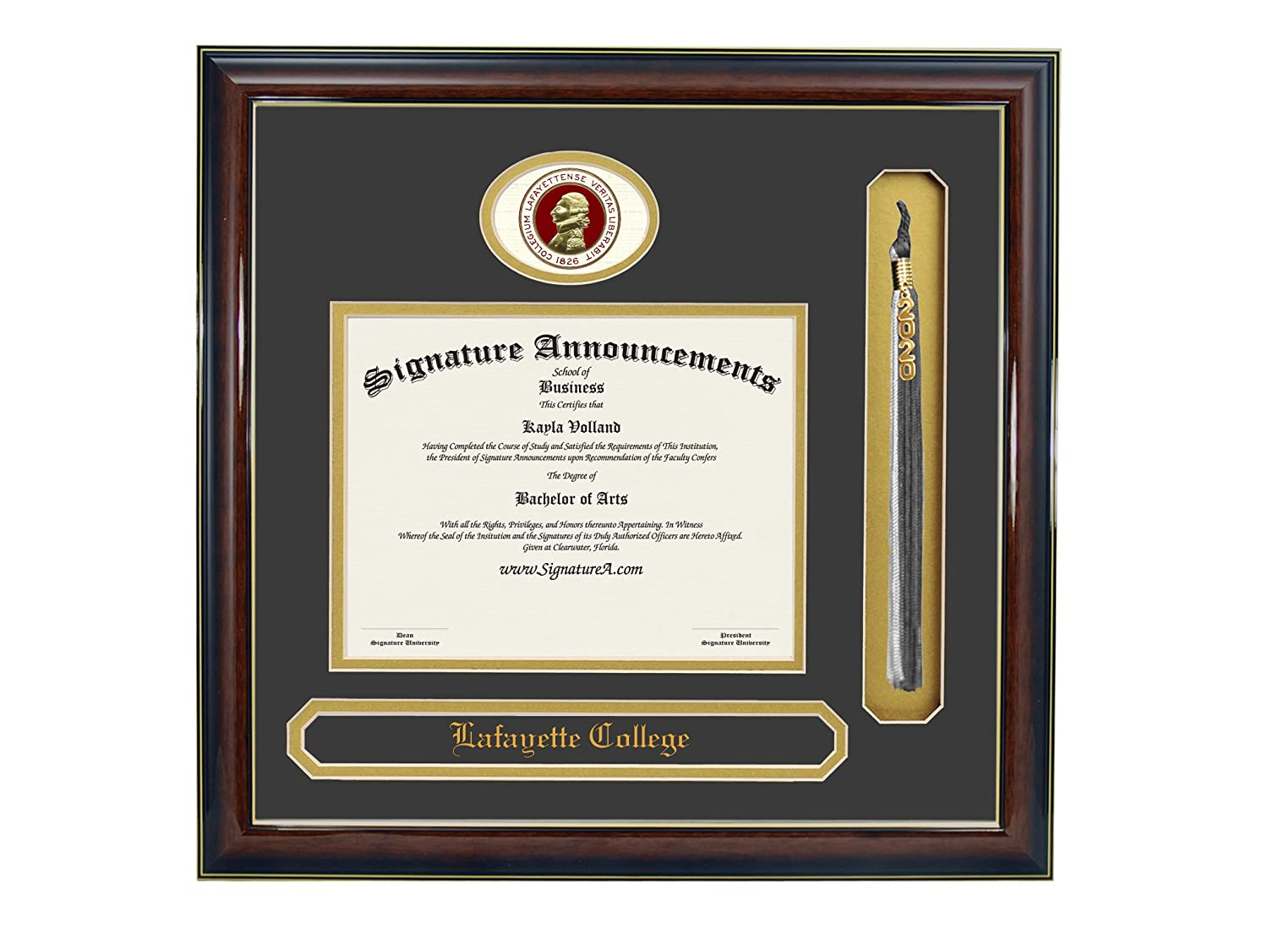 Signature Announcements Lafayette College Undergraduate Sculpted Foil Seal Name /& Tassel Graduation Diploma Frame 20 x 20 Gloss Mahogany with Gold Accent