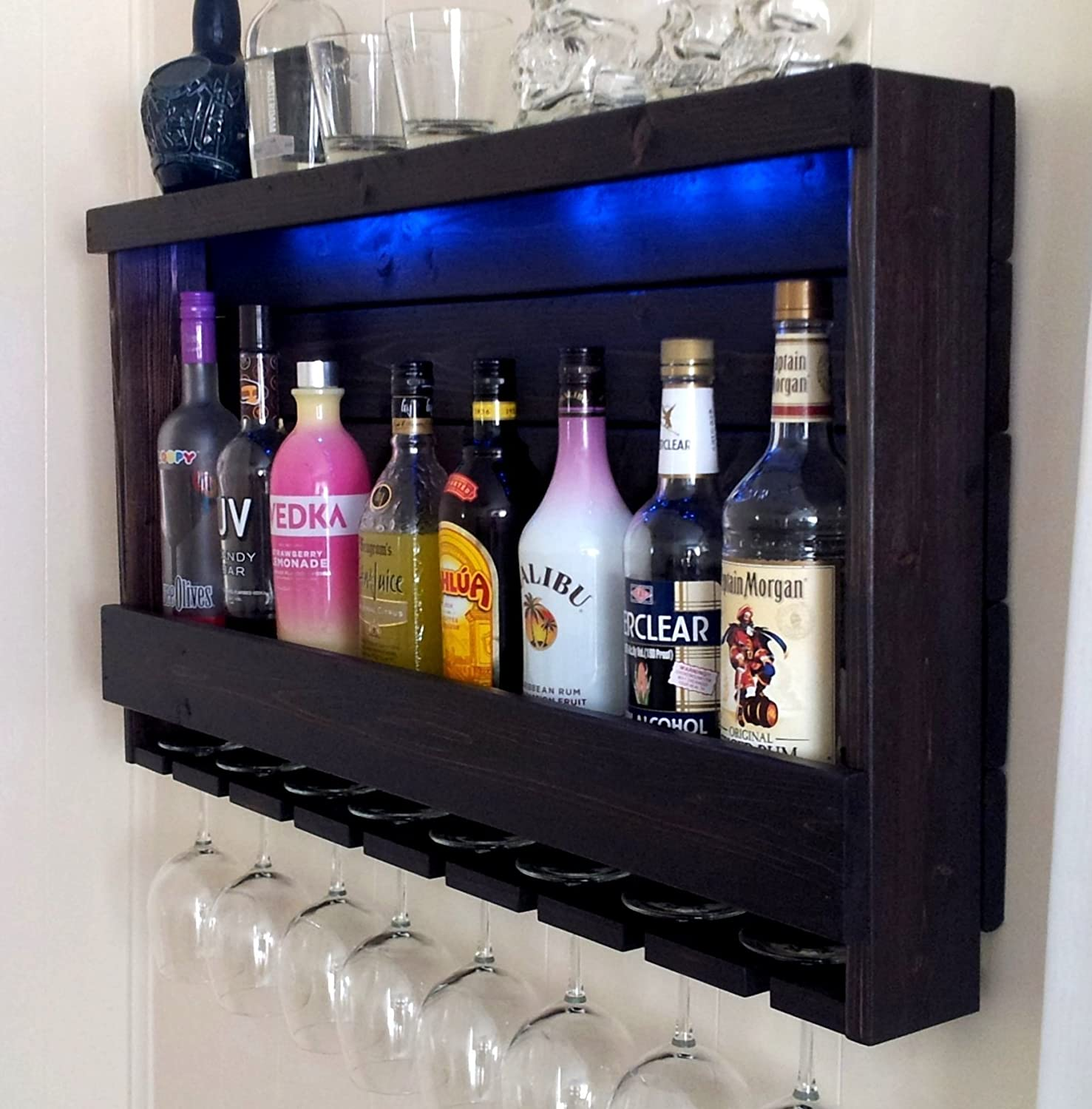 Amazon.com: Wine Rack   RUSTIC   Liquor Cabinet   Shown In Dark Brown  Espresso Finish   Shown With Blue LED Recessed Lights: Handmade