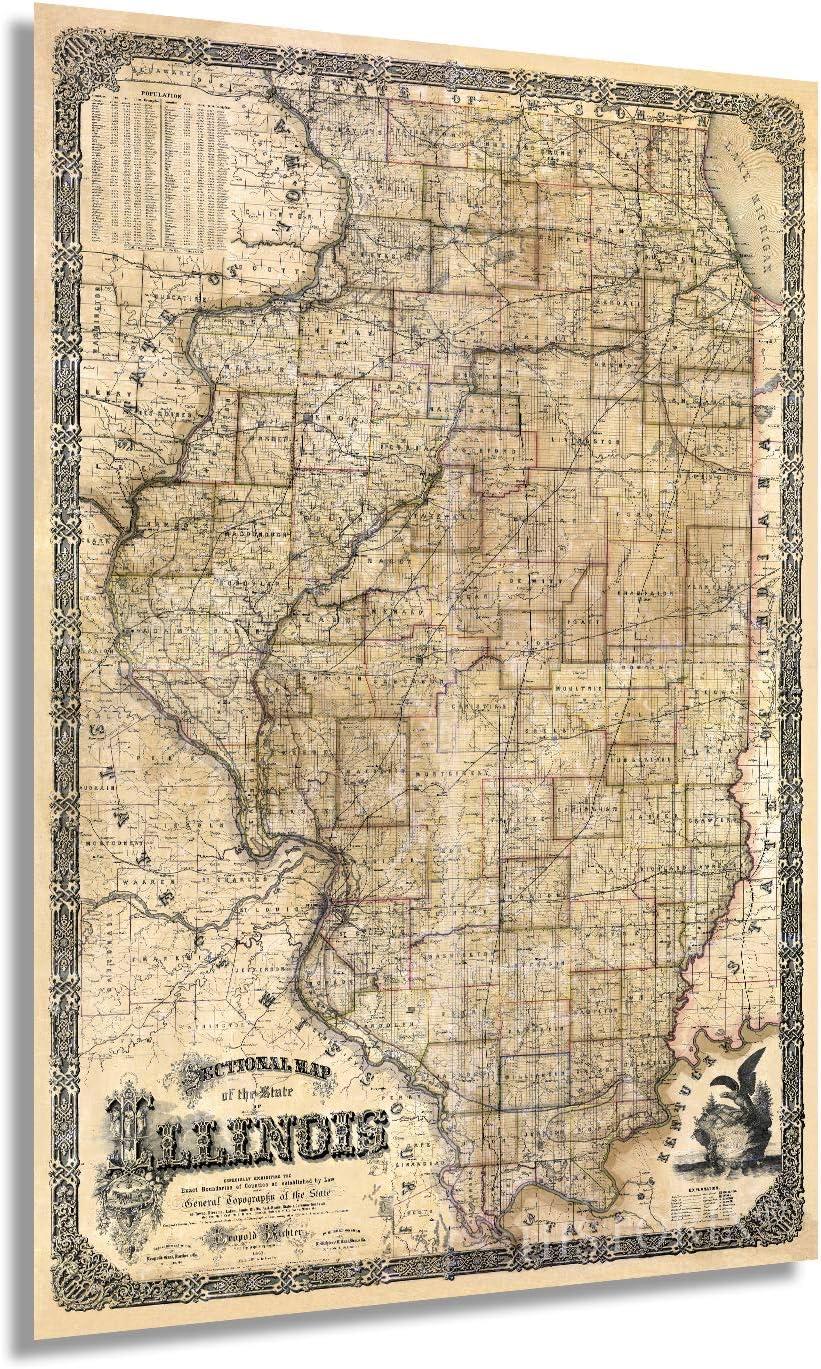 Historix Vintage 1861 Illinois State Map - 16x24 Inch Vintage Map Illinois Wall Art - Illinois Wall Decor - Map of Illinois Poster - Wall Map of Illinois - State of Illinois Map (2 Sizes)