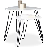 Relaxdays Table d'appoint blanche
