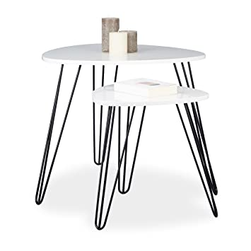 Relaxdays Beistelltisch Weiss 2er Set, Eckiger Dreibeiner, Holz Sofatisch  Für Wohnzimmer, HxD: