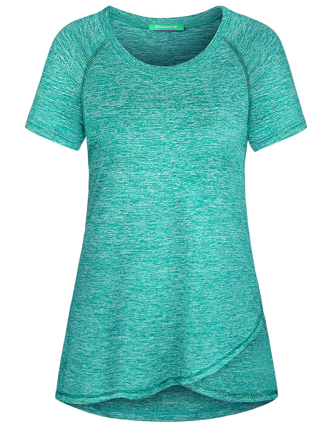 Kimmery Athletic Shirts for Women, Short Sleeve Cute Stylish Performance Active Tops Crew Neck Comfy Working out Biking Outdoor Sports Tunics Sweat Absorbent Quick Dry Beautiful Color Gym Wear Green M