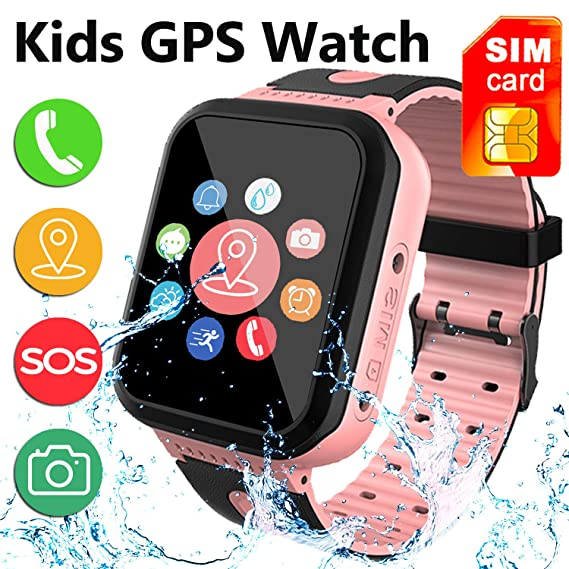 [SIM Card Included] Kids Smart Watch Phone, IP68 Waterproof Smartwatch with LBS/GPS Tracker SOS Phone Alarm Clock Flashlight Back to School Gift for ...