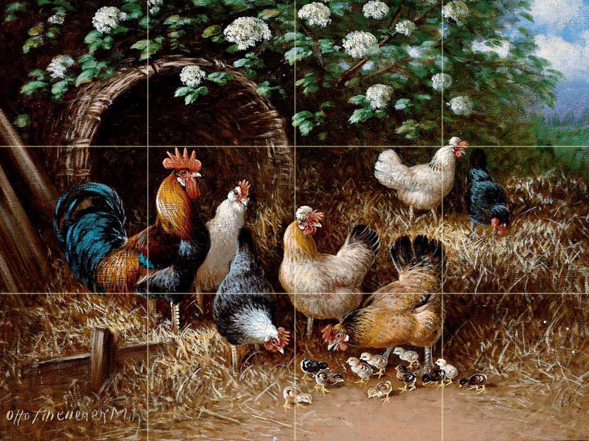 Chicken family under a bush by Otto Scheuerer Tile Mural Kitchen Bathroom Wall Backsplash Behind Stove Range Sink Splashback 4x3 4'' Marble, Matte by FlekmanArt
