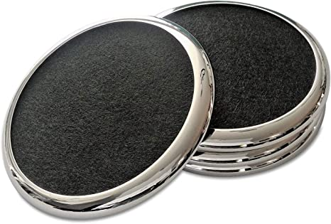 Amazon Com Comfortena Regal Drink Coasters With Absorbent Felt Inserts Unique Table Coaster Set With Silicone Tray And Metal Ring Accent Perfect For Hot And Cool Beverages In Glasses Cups And