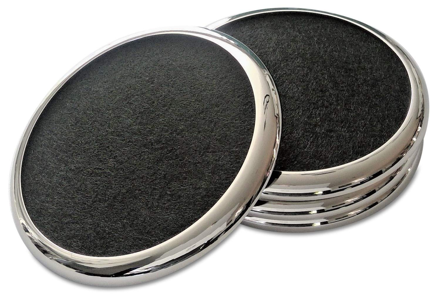 Comfortena Regal Drink Coasters with Absorbent Felt Inserts | Unique Table Coaster Set with Silicone Tray and Metal Ring Accent | Perfect for Hot and Cool Beverages in Glasses, Cups, and Mugs | Silver