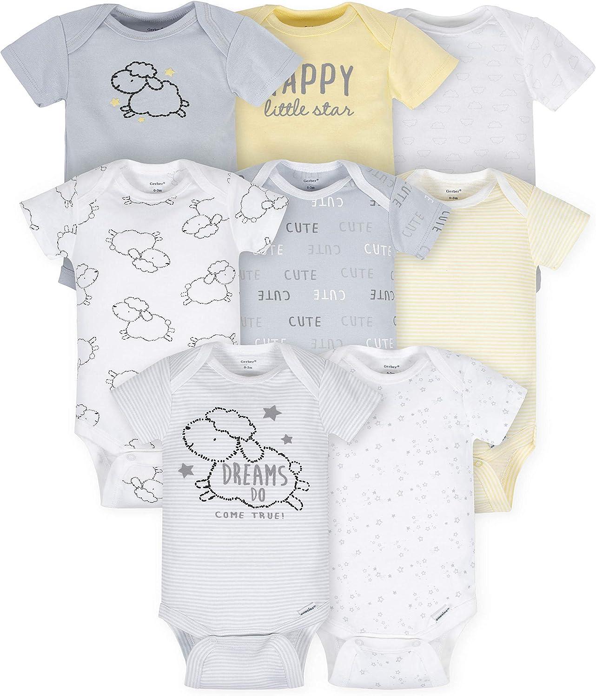 Gerber Baby Girls' 8 Pack Short-Sleeve Onesies Bodysuits