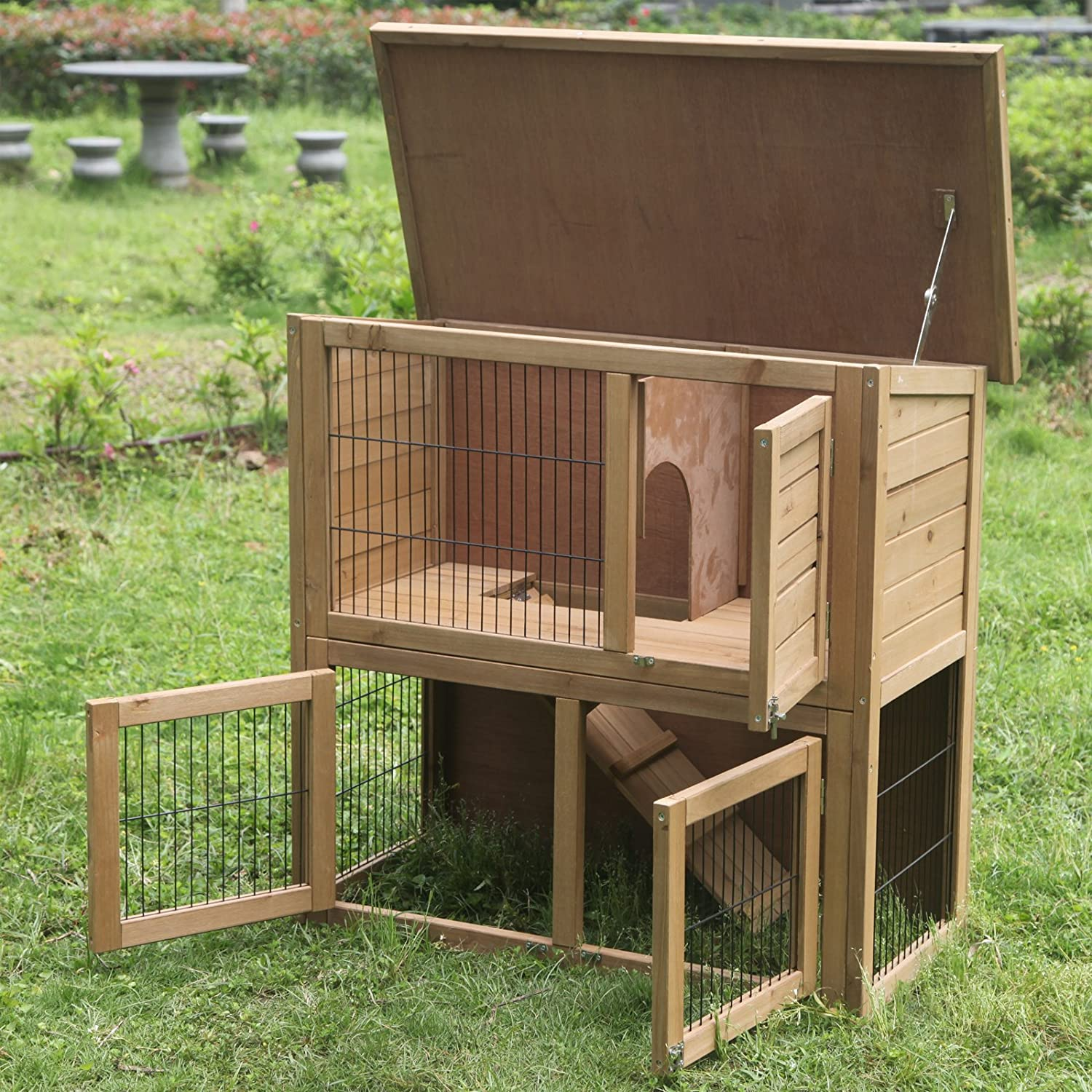 new pet handmade hutch animal itm small house sale bunny rabbit for details maple brown hutches habitat cage indoor