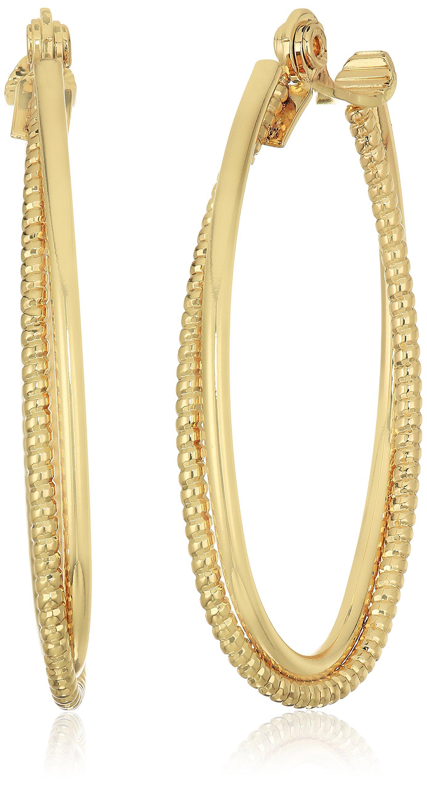 Anne Klein Women's Gold Tone Large Textured Hoop Clip On Earrings