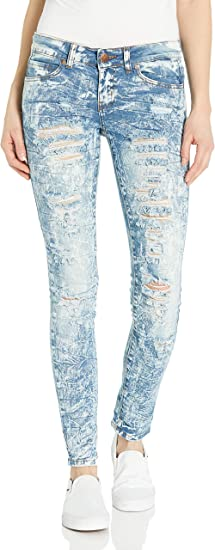 V.I.P.JEANS Womens Skinny Ripped Distressed Denim Pants Cute Stone Washed Jeans
