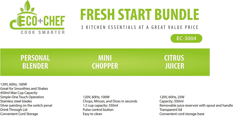 Eco+Chef Paquete de inicio fresco: batidora personal para batidos y batidos, exprimidor de cítricos compacto, cortador pequeño para todo tipo de verduras: Amazon.es: Hogar
