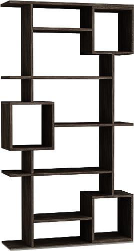 Ada Home Decor Barrett Modern Dark Brown Bookcase 68.11'' H x 36.22'' W x 11.02'' D/Shelving Unit/Bookshelf