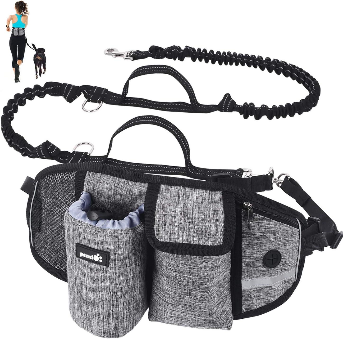 Pecute Correa Perro para Correr, Correa Manos Libres para Perros Proteger la Cintura con Costuras Reflectantes, Cinturones de Cintura Ajustables, Endure 110kg