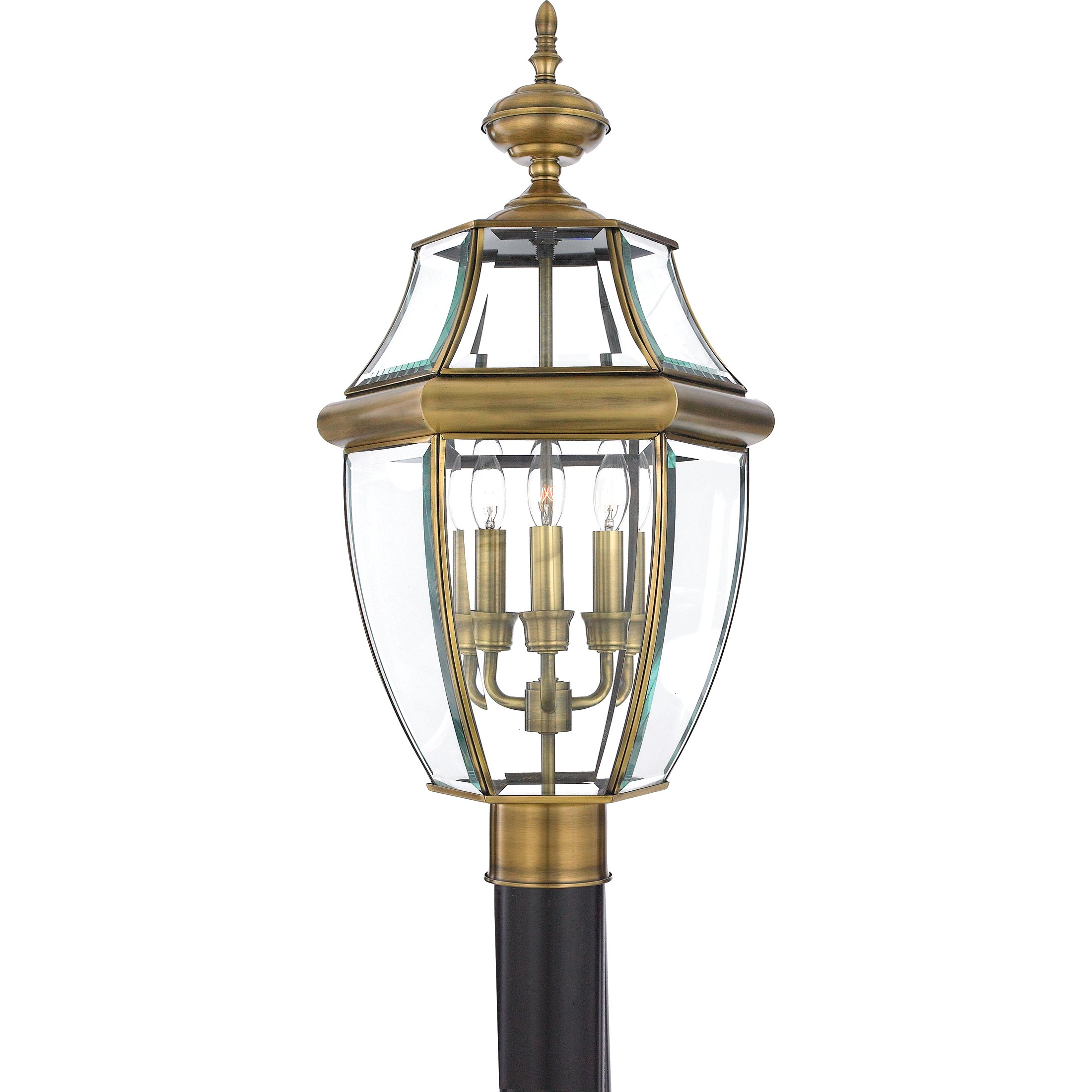 Quoizel NY9043A Newbury 3-Light Outdoor Post Lantern, Antique Brass