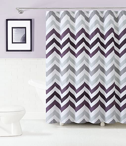purple and gray shower curtain. 100  Cotton Fabric Shower Curtain Chevron Design Purple Gray And White Amazon Com