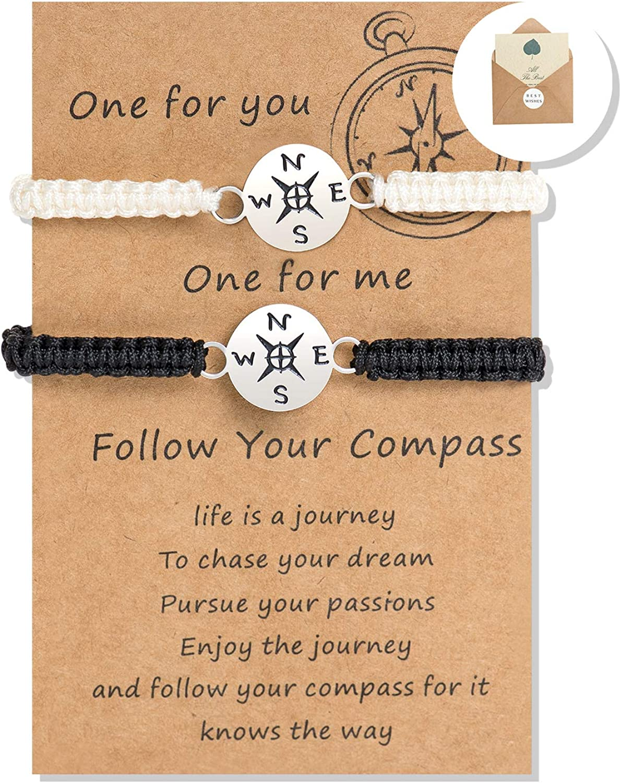 Compass Bracelet Long Distance Travel Wanderlust Bracelet Personalized Compass Charm Passport Traveller Jewelry Woman Man globe Graduation