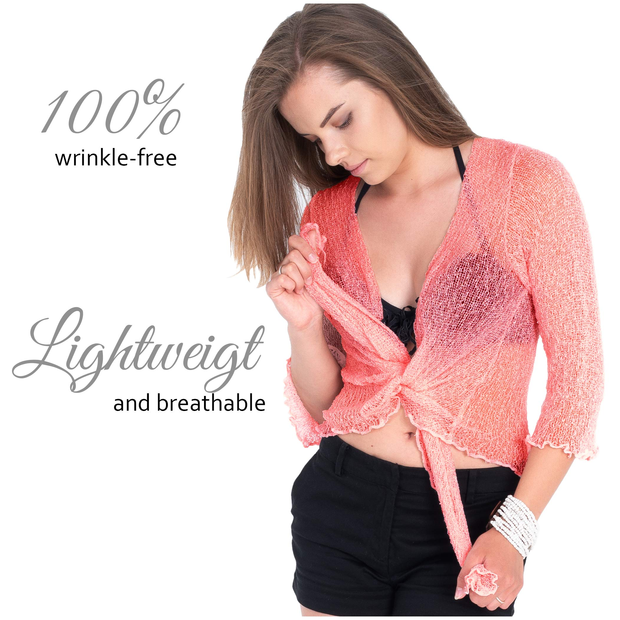 Boho Village Lightweight Cardigans for Women - 3/4 Sleeve Shrugs for Dresses. Dark Pink/Salmon Pink Size S-XL by Boho Village (Image #3)