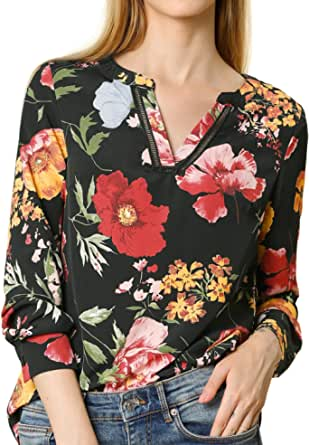 Allegra K Women's Stand Collar V Neck Long Sleeve Floral Print Blouse
