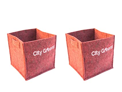 CityGreens® Fabric Grow Bags for Plants | 500 GSM | Red, Square 10x10 (Pack  of 2) | Elegant Look | for Indoor, Terrace and Balcony Gardening (Red,