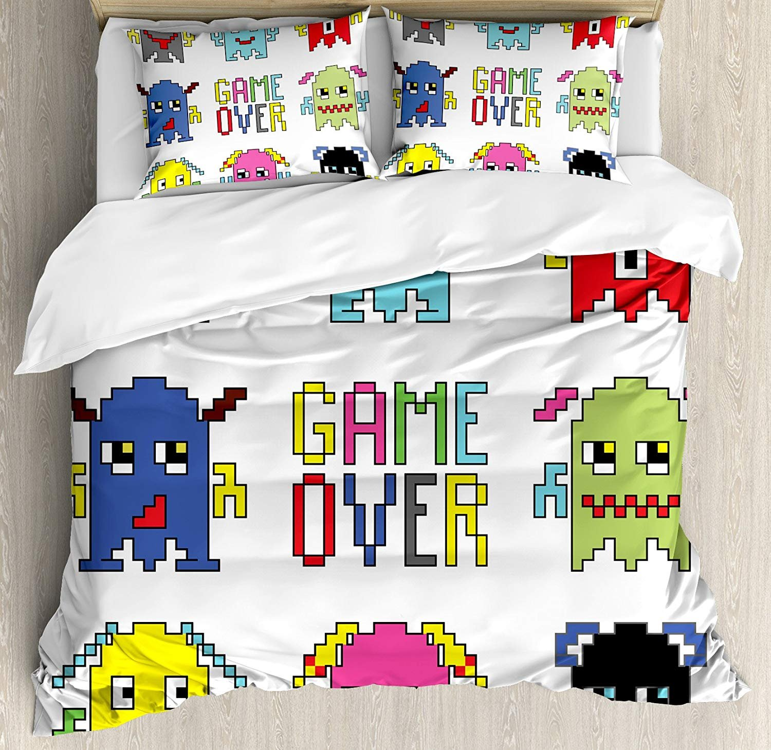 Twin Size 90s 3 PCS Duvet Cover Set, Pixel Robot Emoticons with Game Over Sign Inspired by 90's Computer Games Fun Artprint, Bedding Set Quilt Bedspread for Children/Teens/Adults/Kids, Yellow Red