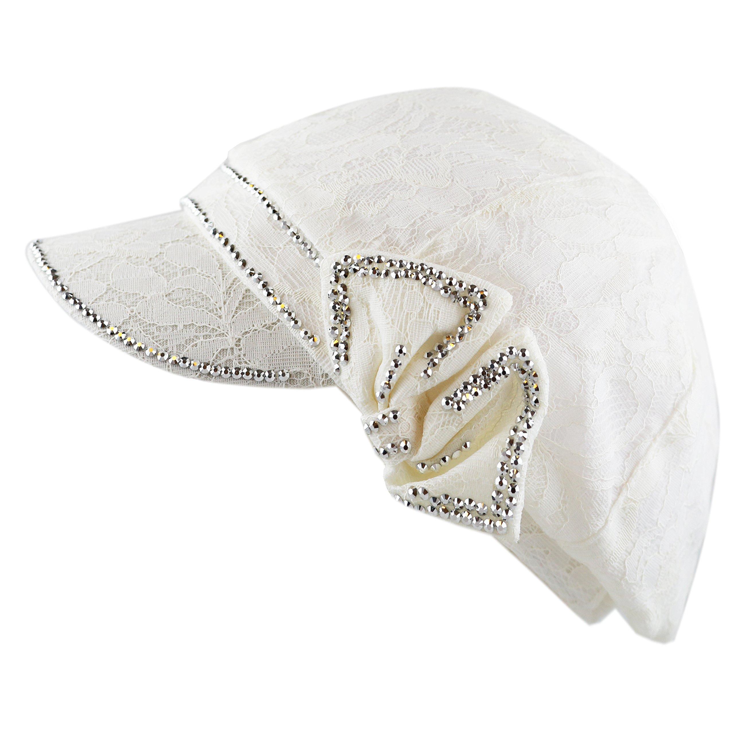 69279b67cddef THE HAT DEPOT 200H4199 Womens Cool Flower Mesh Pattern Shiny Studded  Applejack Hat product image