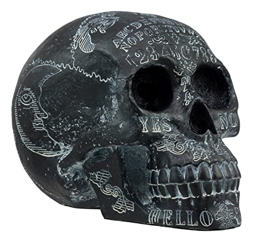 Ebros Black Solar Astrology Paranormal Ouija Spirit Skull Statue 8.5 Long Supernatural Occultist Witchcraft Medium Sculpture As Home Decorative Halloween Party Centerpiece