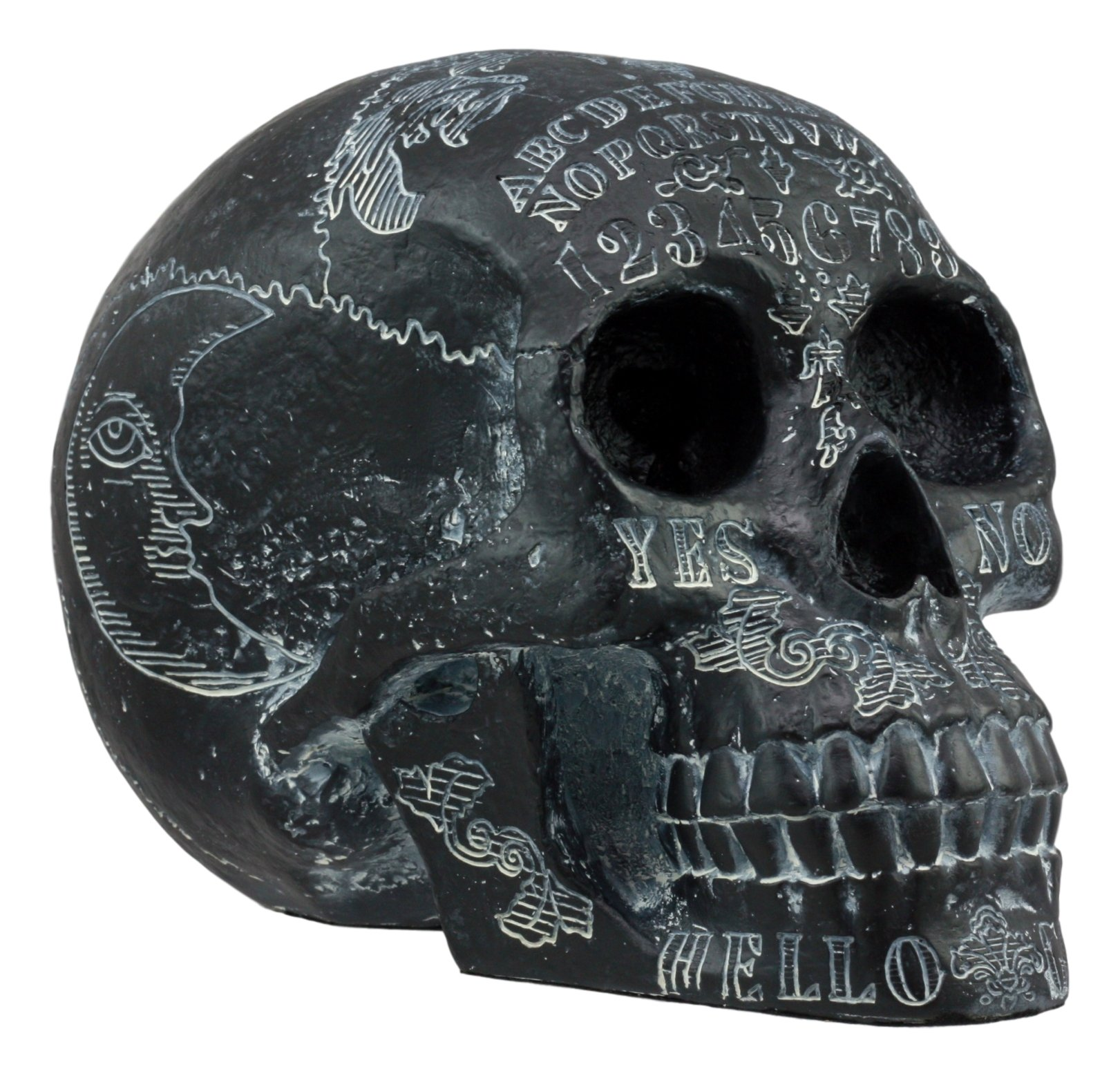 Ebros Black Solar Astrology Paranormal Ouija Spirit Skull Statue 8.5''Long Supernatural Occultist Witchcraft Medium Sculpture As Home Decorative Halloween Party Centerpiece