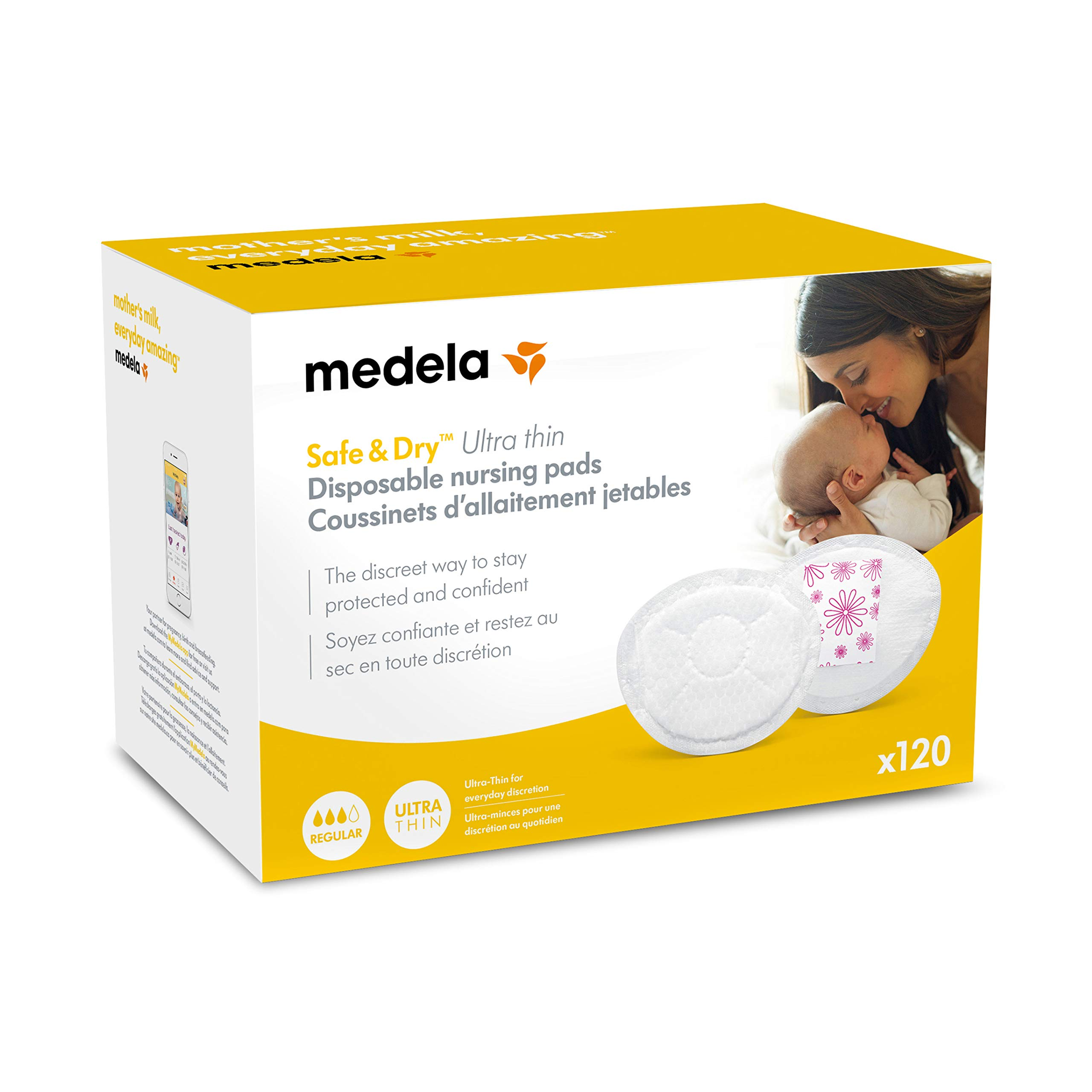 Medela Safe & Dry Ultra Thin Disposable Nursing Pads, 120 Count Breast Pads for Breastfeeding, Leakproof Design, Slender and Contoured for Optimal Fit and Discretion by Medela