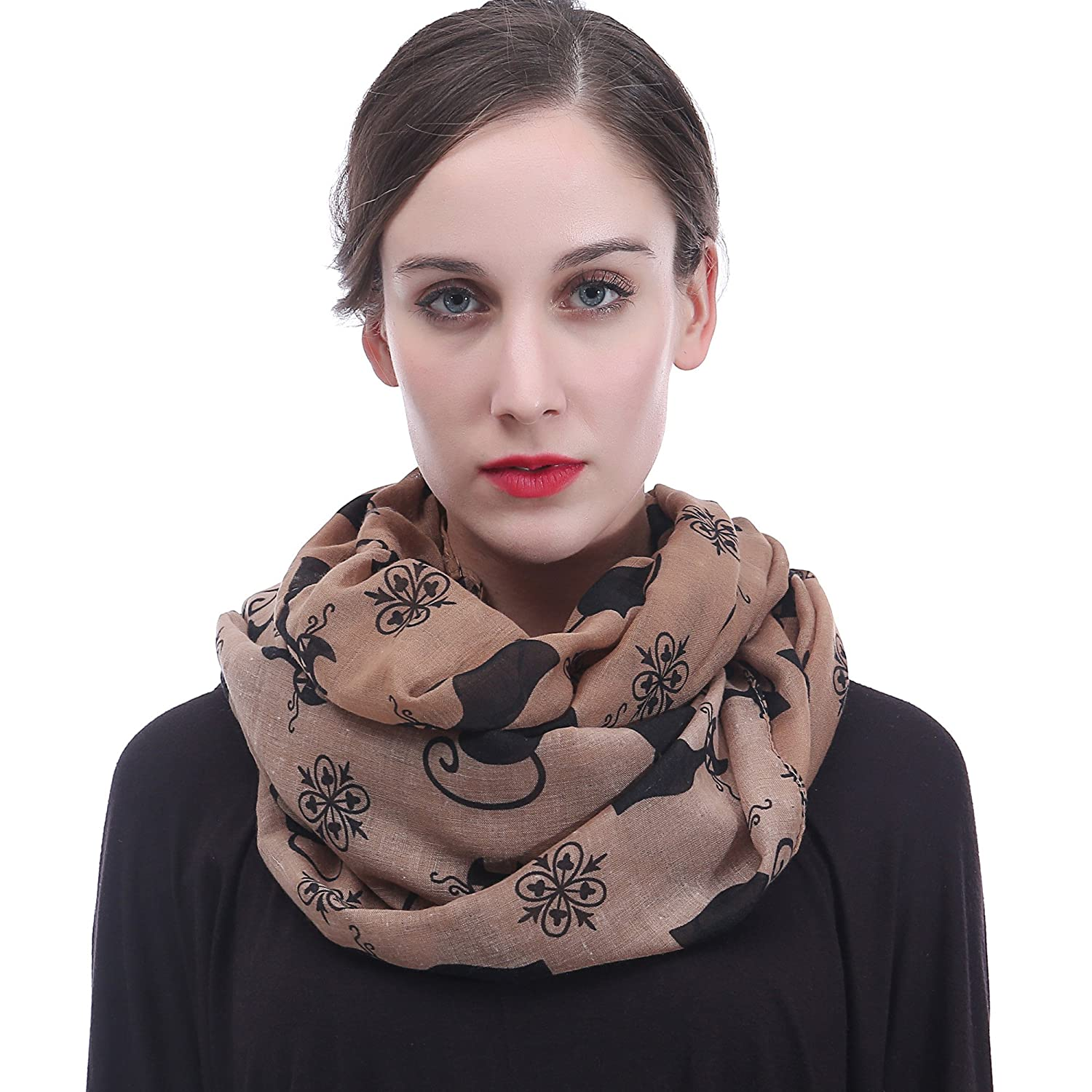 Lina & Lily Cat Kitten Print Women's Infinity Loop Scarf (Black+Pink)