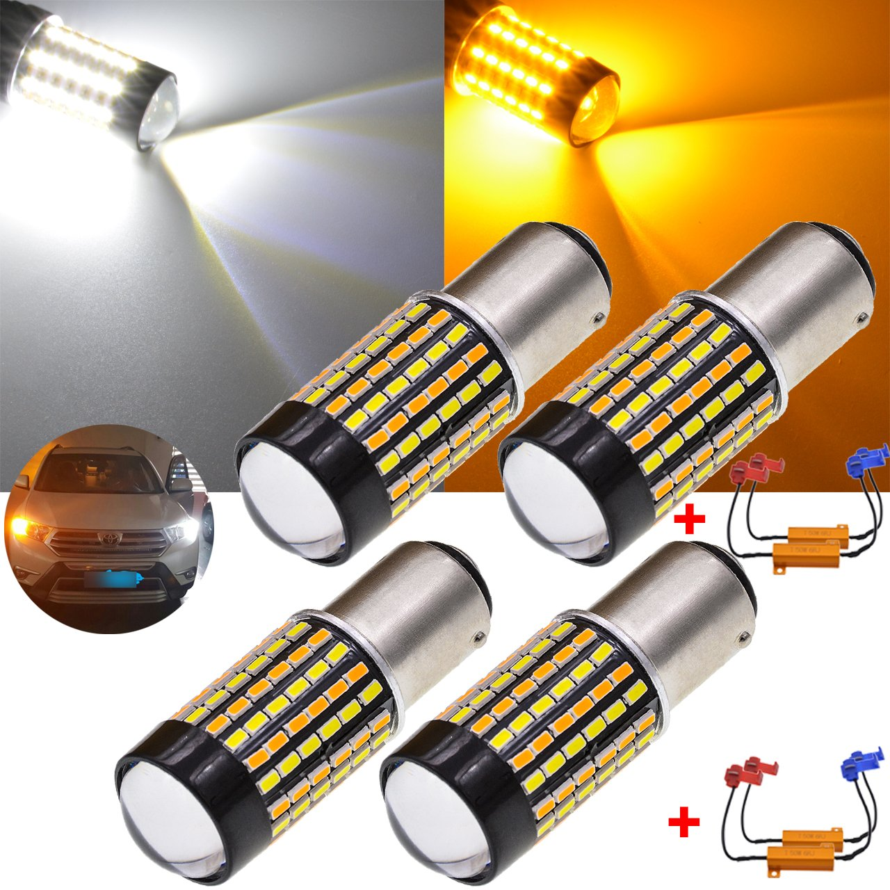 TUINCYN 7443 7444 992 T20 Switchback LED Turn Signals Bulb CANBUS with Resistors White/Amber Dual Color Switch Back Extremely Bright 120-EX Chipsets 6500K DRL LED Bulb(Pack of 2)