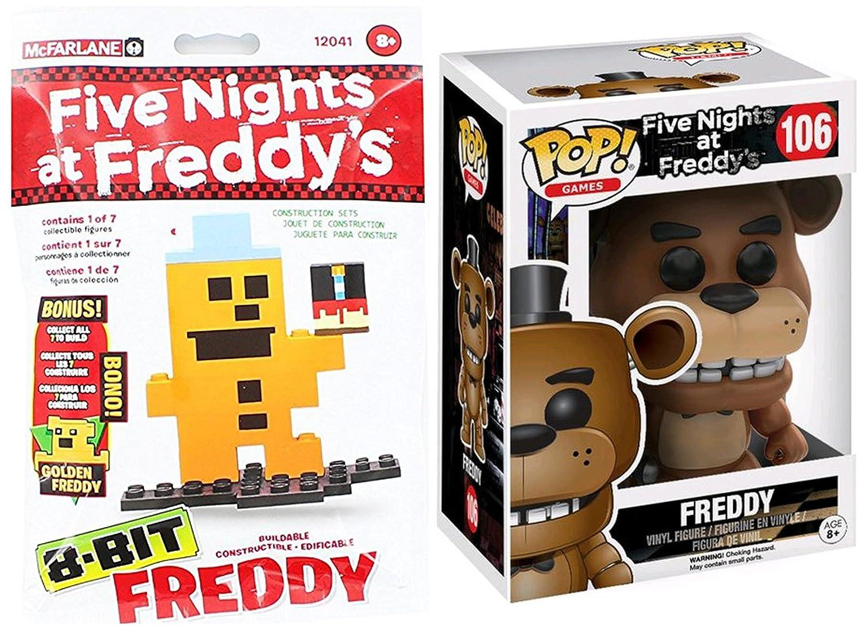Funko Pop Vinyl Five Nights At Freddys 106 Figure 8 Bott Fnaf Freddy Bit Bag Construction Set Collectible Bundle Toys Games