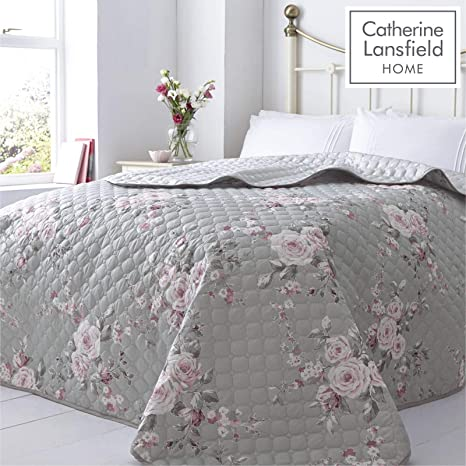 Home & Kitchen Catherine Lansfield Embroidered Blossom Bedspread Pink 240x260cm Bedding